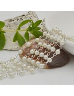 catena rosario con perle bianco 3 mm concatenata filo argento in ottone 50 cm per fai da te