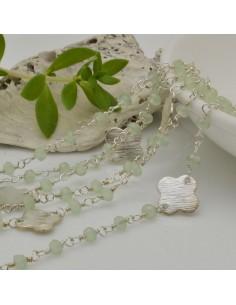 catena rosario concatenata cristalli verde giada 3 mm intercalate da connettore fiore filo argento in ottone 50 cm