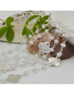 catena rosario concatenata cristalli bianco 3 mm intercalate da connettore fiore filo argento in ottone 50 cm