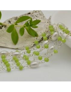 catena rosario concatenata cristalli verde chiaro 3 mm intercalate da connettore perle ovale 50cm