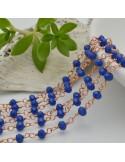catena rosario cristalli colore verde 3 mm concatenata filo oro rosa in ottone 50 cm per fai da te
