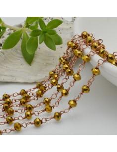 catena rosario cristalli colore oro metallic 3 mm concatenata filo oro rosa in ottone 50 cm per fai da te