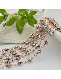catena rosario cristalli colore argento metallic 3 mm concatenata filo oro rosa in ottone 50 cm per fai da te