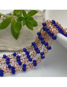 catena rosario cristalli 3 mm concatenata filo oro rosa in ottone colore blu 50 cm per fai da te
