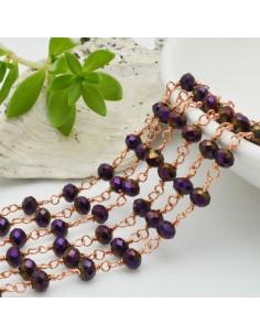 catena rosario cristalli ametista metallic 4 mm concatenata filo oro rosa in ottone 50 cm per fai da te