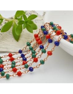catena rosario cristalli 3 mm concatenata filo oro rosa in ottone colore mix 50 cm per fai da te