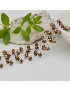 catena rosario cristalli colore oro metallic 3 mm concatenata filo canna di fucile 50 cm