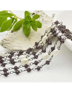 catena rosario concatenata cristalli viola 3 mm intercalate perle ovale fili canna di fucile in ottone 50 cm