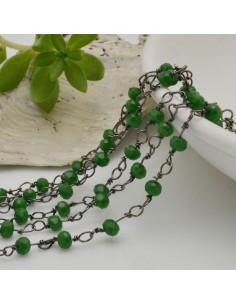 catena rosario cristalli colore verde 3 mm concatenata filo canna di fucile in ottone 50 cm per fai da te