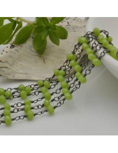 catena rosario cristalli colore verde chiaro 3 mm concatenata filo canna di fucile in ottone 50 cm per fai da te