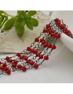 catena rosario cristalli colore rosso 3 mm concatenata filo canna di fucile in ottone 50 cm