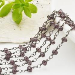 catena rosario cristalli colore viola 3 mm concatenata filo canna di fucile in ottone 50 cm per fai da te
