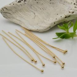 Chiodini in acciaio Spilli testa Pallina 40 mm placato oro FILO 0.6 MM confezione 10 pz per fai da te