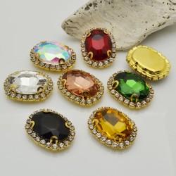 pietre incastonate in vetro torno strass 18 x 22 mm con 2 foro passante 1 pz base oro  per fai da te