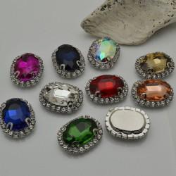 pietre incastonate in vetro torno strass bianco 18 x 22 mm con 2 foro passante 1 pz base argento per fai da te