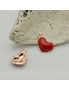 ciondolo cuore argento 925 smaltato rosso 8 x 11 mm per decorare le tuo gioielli Made in Italy