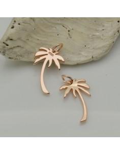 ciondolo palma argento 925 placato oro rosa 10 x 16 mm per decorare le tuo gioielli Made in Italy