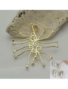 base per conchiglia in argento 925 porta conchiglia placato oro con zircone per decorare le tuo gioielli