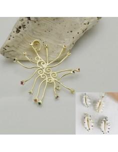base per conchiglia in argento 925 porta conchiglia placato oro con zircone colorato