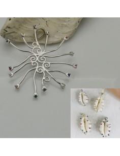 base per conchiglia in argento 925 porta conchiglia con zircone colorato per decorare le tuo gioielli
