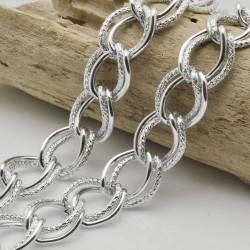 CATENA grumetta 16 x 19 mm spessore 2 mm filo anelli doppia satinato 1mt in alluminio per fai da te