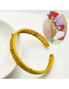 Bracciale rigido oro aperto forma C filo piatta lavorata 7 mm in ottone diametro 65 mm fai da te