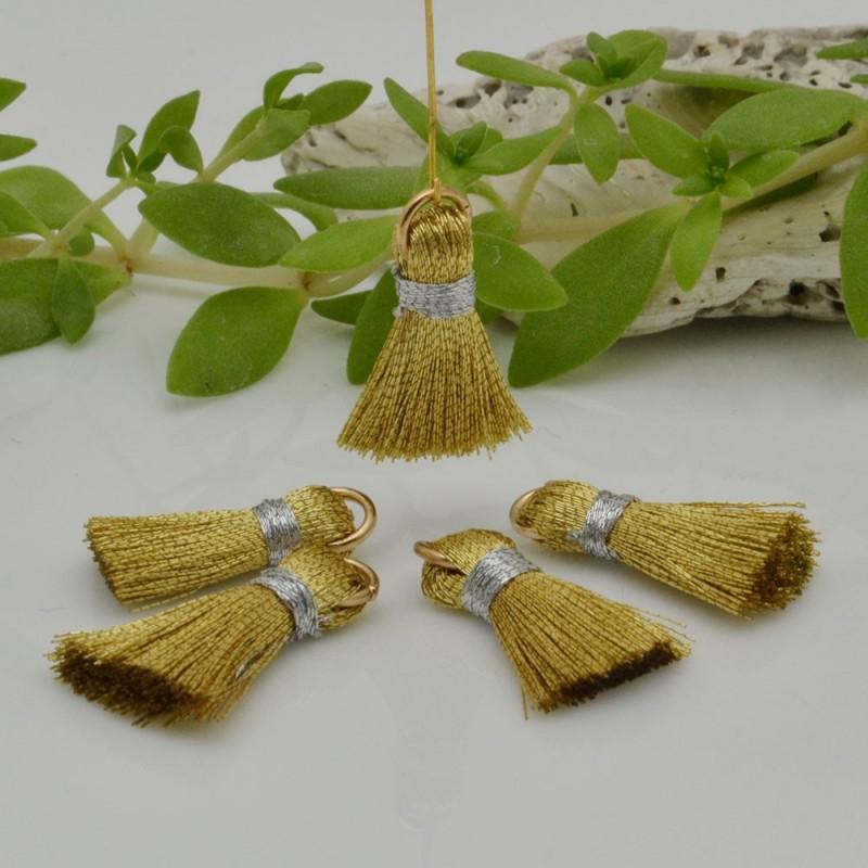 nappine ciondolo nappa Charms in seta col oro 22 mm per decorare 2 pz per fa da te