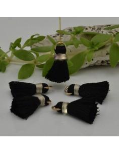 nappine ciondolo nappa Charms in seta col nero /panna 22 mm per decorare 2 pz per fa da te