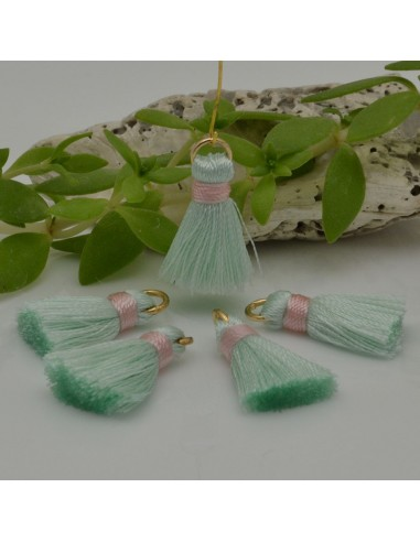 nappine ciondolo nappa Charms in seta col Menta magica rosa 22 mm per decorare 2 pz per fa da te
