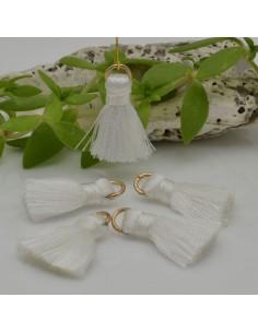 nappine ciondolo nappa Charms in seta col bianca 22 mm per decorare 2 pz per fa da te