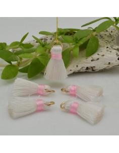 nappine ciondolo nappa Charms in seta col bianca rosa 22 mm per decorare 2 pz per fa da te