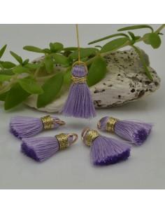 nappine ciondolo nappa Charms in seta col lilla oro 22 mm per decorare 2 pz per fa da te