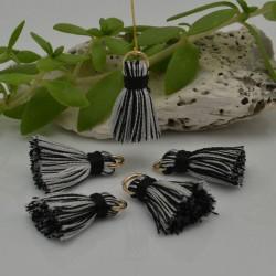 nappine ciondolo nappa Charms in seta col nero bianco 22 mm per decorare 2 pz per fa da te