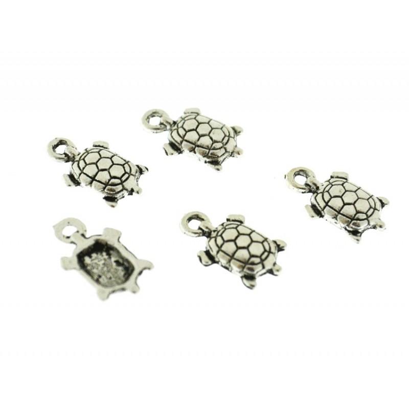 Ciondoli Tartarughe 15x9 mm 10 Pz in metallo per le tue creazioni