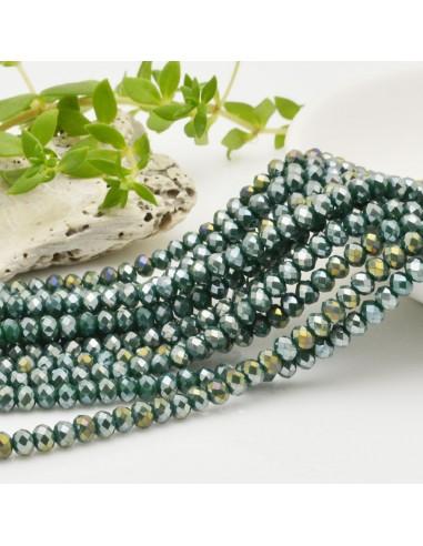 filo cristalli 3 x 4 mm verde scuro AB Rondelle sfaccettato 150 pz per fai da te
