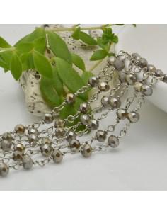 catena rosario cristalli colore Beige oliva 4 mm concatenata filo argento in ottone 50 cm per fai da te
