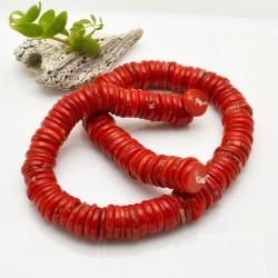 corallo bambù liscio forma disco colore rosso circa 12 x 5 mm fili 40 cm per i tuoi gioielli