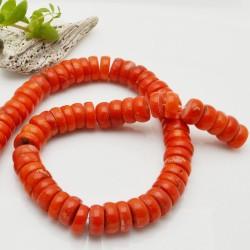 corallo bambù liscio forma disco colore arancione circa 12 x 5 mm filo 40 cm per i tuoi  gioielli