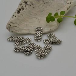 Distanziatore a barra con 3 fiori per creazioni a 3 fili 5.5 x 13 mm 14 pz argentato in metallo per fai da te