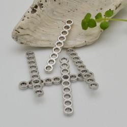 Distanziatore a barra con 9 fori per creazioni a 9 fili 4 x 30 mm 10 pz argentato in metallo per fai da te