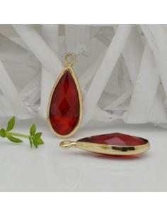 CIONDOLI CON CRISTALLO 10.5 x 25 mm colore rosso da abbinare a orecchini collane per fai da te