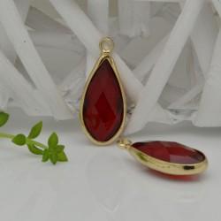 CIONDOLI CON CRISTALLO 10.5 x 25 mm colore rosso scuro da abbinare a orecchini collane per fai da te