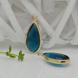 CIONDOLI CON CRISTALLO 10.5 x 25 mm colore azzurro acqua da abbinare a orecchini collane per fai da te
