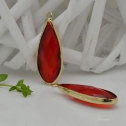 CIONDOLI CON CRISTALLO 13 X 35 MM colore rosso scuro da abbinare a orecchini collane per fai da te