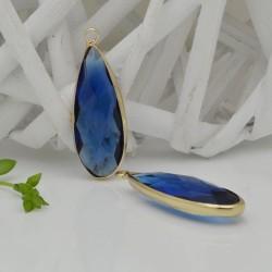 CIONDOLI CON CRISTALLO 13 X 35 MM colore blu da abbinare a orecchini collane per fai da te