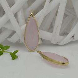 CIONDOLI CON CRISTALLO 13 X 35 MM colore giada rosa da abbinare a orecchini collane per fai da te