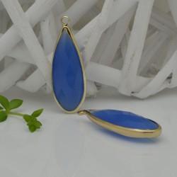 CIONDOLI CON CRISTALLO 13 X 35 MM colore giada azzurro da abbinare a orecchini collane per fai da te