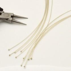 Chiodini Spilli testa Pallina 2 mm in ottone filo 0.8 mm 120 mm conf 10pz per gioielli