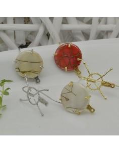 BASE monachella in ZAMA con 4 chiodini ganci pietra cabichon 22 x 29 mm per i tuoi orecchini alla moda