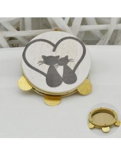 ciondolo tamburelli siciliani con disegni gatto 50 mm 3 medaglia oro per le tue creazioni